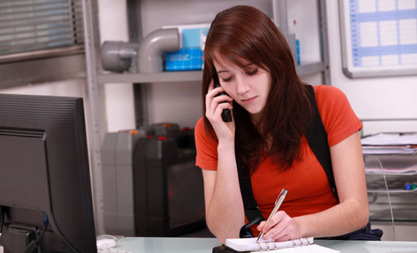 Receptionist contacting client about case